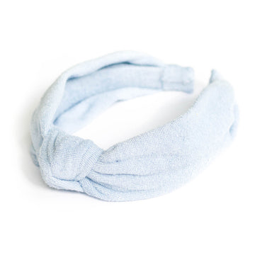 Knotted Towelling Headband, Light Blue