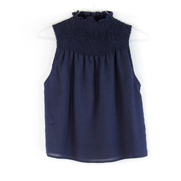 Nonna Smocked Blouse, Navy