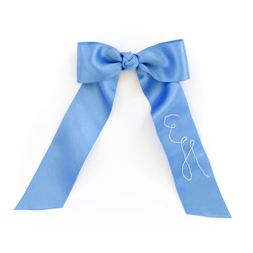 Personalized Silk Bow Barrette, Amalfi Blue