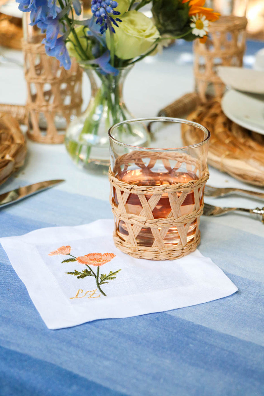 Peach Floral Embroidered Cocktail Napkin