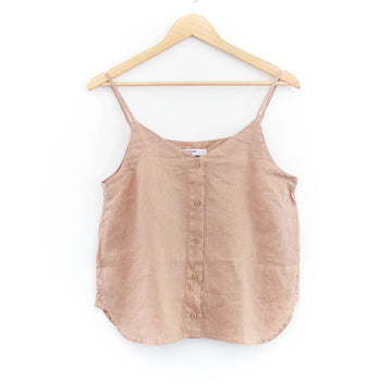 Linen Button Up Cami, Almond