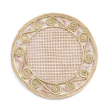 Woven Swirl Palm Placemat, Natural x Pale Pink