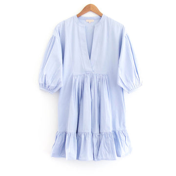 Tiered Cotton Shift Dress, Cloud Blue