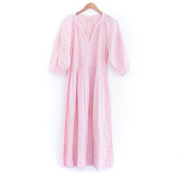 Pleated Day Dress, Pink Pinstripe