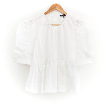 Peplum Puff Sleeve Blouse, White