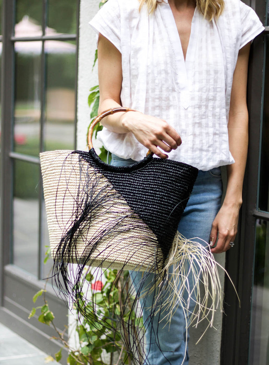Two Tone Frayed Tote, Black x Natural