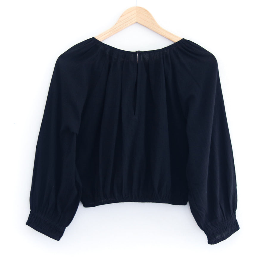 Kiran Shirred Crop, Black