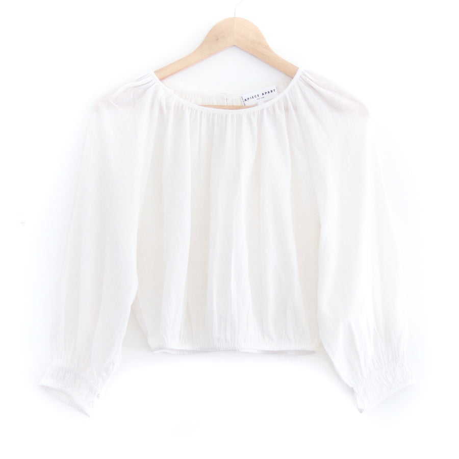 Kiran Shirred Crop Top, Cream
