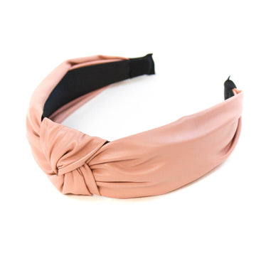 Leather Knotted Headband, Blush