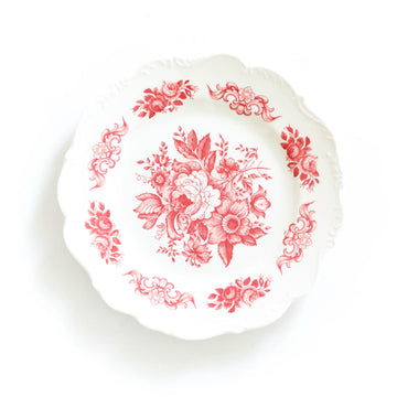 Garden Rose Melamine Plate, Red