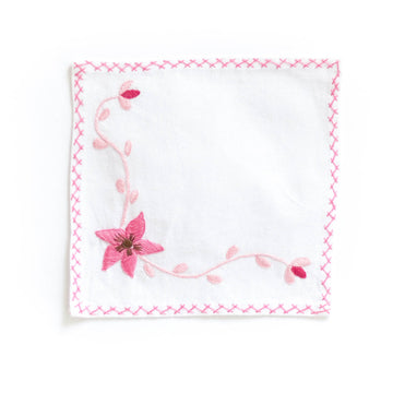 Embroidered Cocktail Napkins, Pink Vine