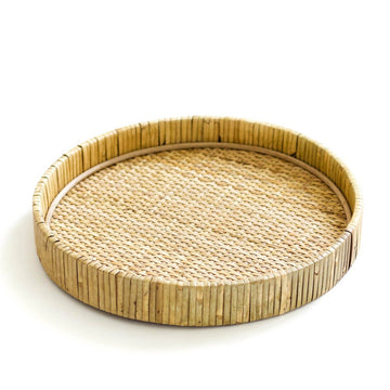Rattan Cayman Round Tray, Natural
