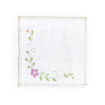 Embroidered Cocktail Napkin Set of 4, Green Vine