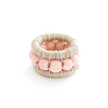 Sisal Berry Napkin Ring, Flax & Blush