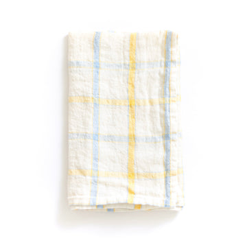 Check Linen Napkin, Yellow x Blue