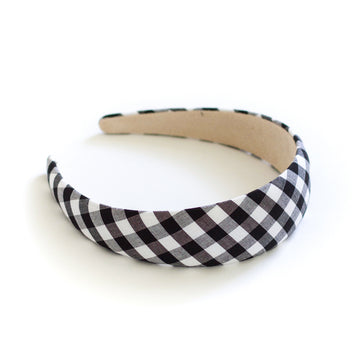 Gingham Check Headband, Black x White