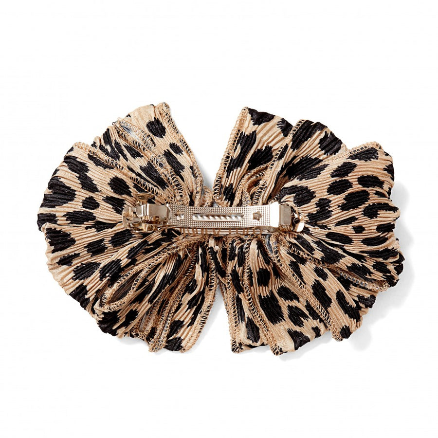 Ruffle Pleated Hair Clip, Leopard