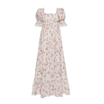Elisa Dress, White Flower Print