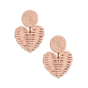 Rattan High Gloss Heart Drop Earring, Blush