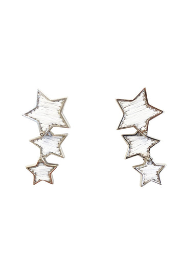 Star Earring, White x Silver