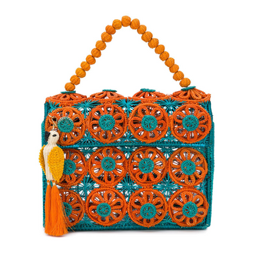 Amanecer Handbag, Turquoise x Orange