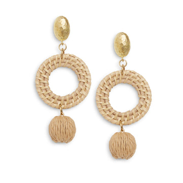 Rattan Hoop Drop Earring