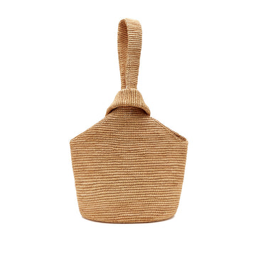 Pullthrough Straw Tote, Ochre