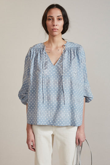 Clean Willow Polka Dot Top, Light Blue