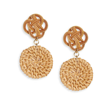 Rattan Disc Drop Earring