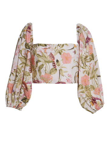 Sagaponack Top, Tropical Birds Ivory