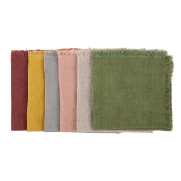Frayed Linen Cocktail Napkins, Set of Six