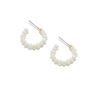 Freshwater Pearl Huggie Hoop Earrings