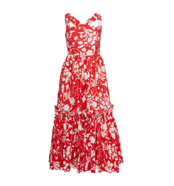 Julia Midi Dress, Red Floral