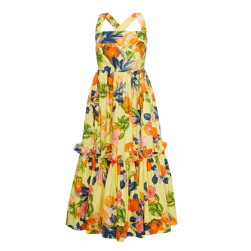 Julia Midi Dress, Yellow Citrus
