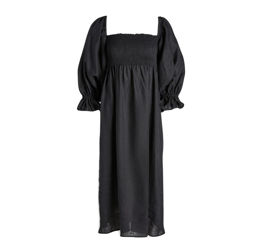 Atlanta Linen Dress, Black