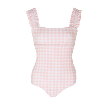 Gingham Ruffle One Piece, Rose Pink x White