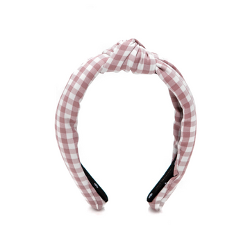 Gingham Knotted Headband, Mauve Pink