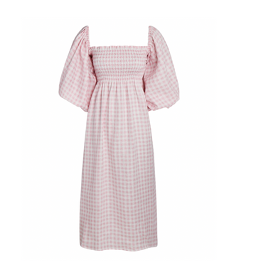 Atlanta Linen Dress, Pink Vichy