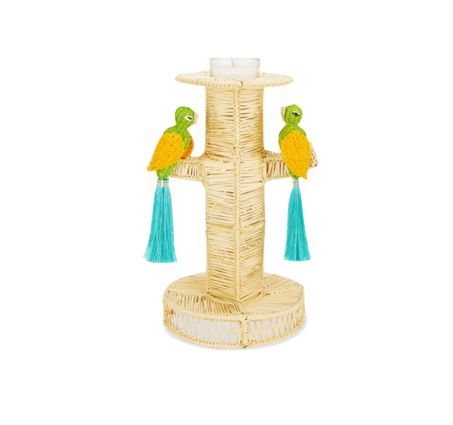 Two Parrots Candlesticks, Turquoise x Green