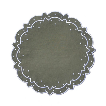 Scalloped Dot Placemat, Olive x Ivory