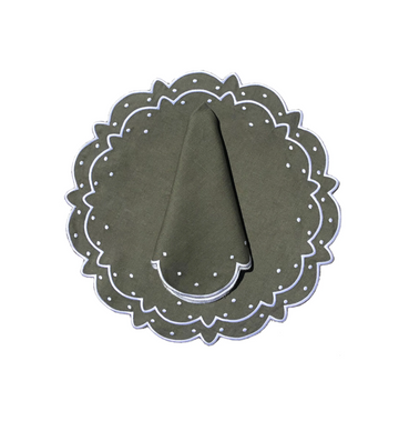 Scalloped Dot Napkin, Olive x Ivory