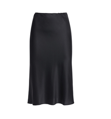Valeria Skirt, Black Charmeuse