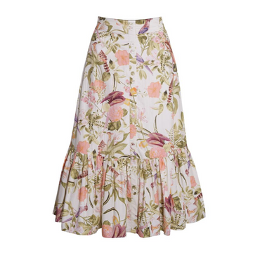 Georgica Skirt, Tropical Birds Ivory
