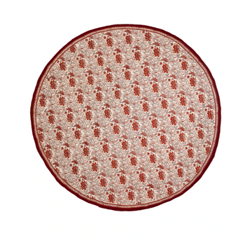 Poinsettias Tablecloth, Cranberry x Buff