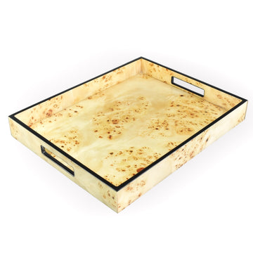 Mappa Burl Wood Lacquer Tray