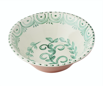 Casa Nuno Large Green and White Bowl