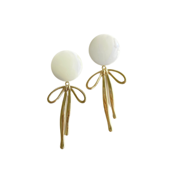 Mother of Pearl + Golden Bow Earring
