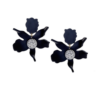 Crystal Lily Earrings, Jet Black