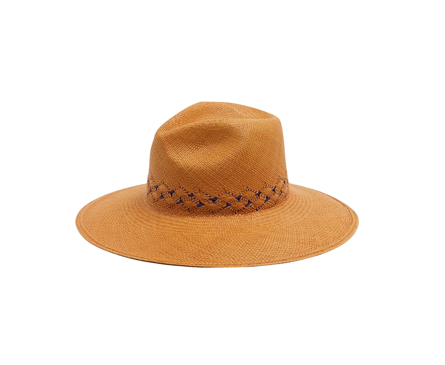 Hibiscus Straw Hat, Butterscotch x Blue