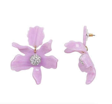 Petite Crystal Lily Earrings, Lilac